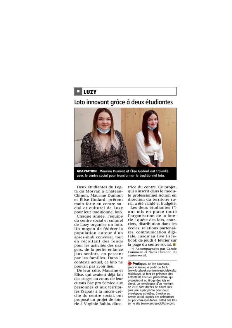 Deux étudiantes du LEGTA au centre social et culturel de Luzy