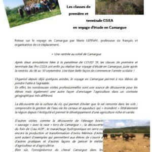 Voyage d'étude en Camargue pour les CGEA